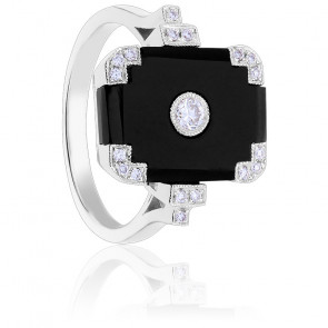 Bague Or Blanc 18K Onyx & Diamants
