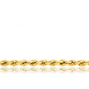 Bracelet corde, plaqué or jaune 18K, longueur 18 cm