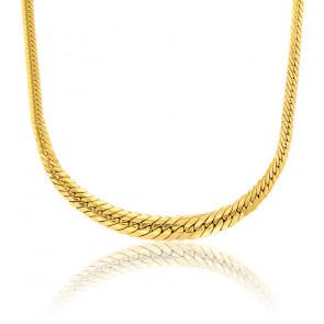 Collier chute maille anglaise, plaqué or jaune 18K, longueur 50 cm