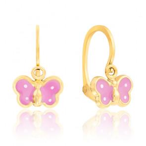 Boucles d'oreilles Papillon rose, en or 9k
