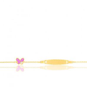 Bracelet Plaque Papillon, Or 9k