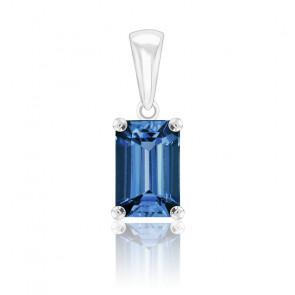 Pendentif  London Blue Topaze Or blanc forme Emeraude