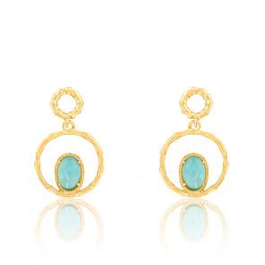 Boucles d'oreilles pendantes en agate bleue