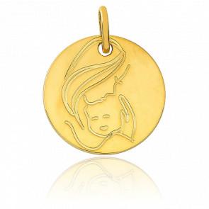 Médaille Vierge à l'enfant, Or jaune 9K