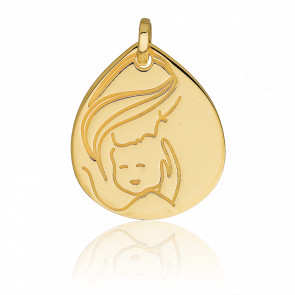 Médaille Ovale Vierge à l'enfant, Or jaune 18K
