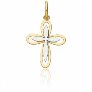 Pendentif double croix florale ajourée bicolore or 18k