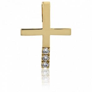 Pendentif croix or 18k et diamants 0.04 cts