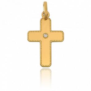 Pendentif croix or 18k perlée et diamantée 0.01 ct
