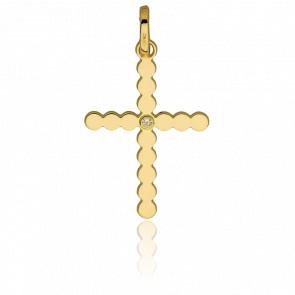 Pendentif croix or 18k perlée et un diamant 0.01 ct