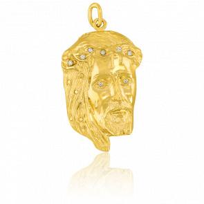 Pendentif Tête de Christ & Oxydes Or Jaune
