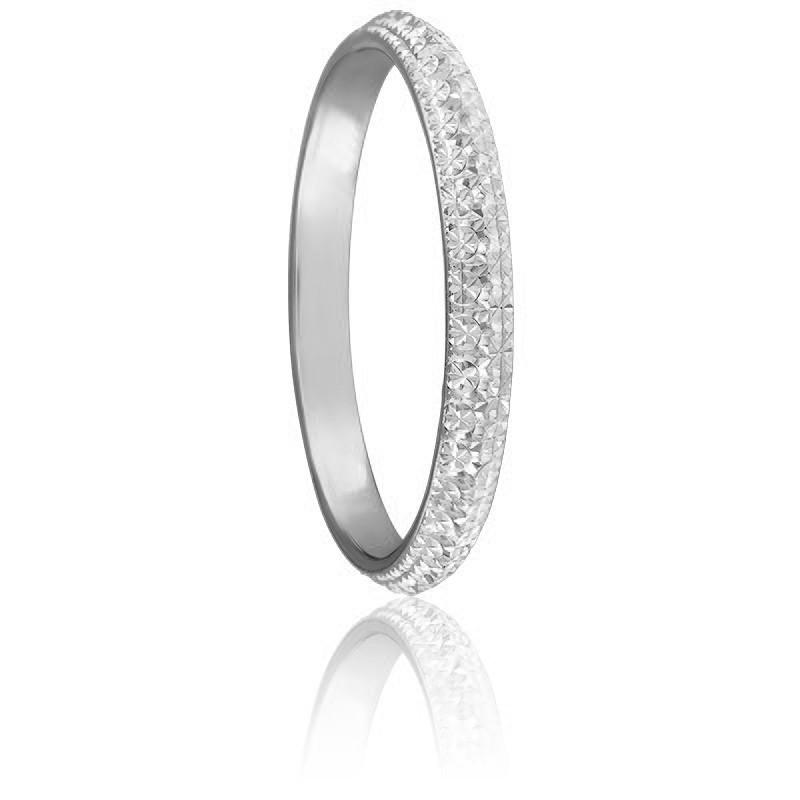 Alliance Diamantée 2,50 mm or blanc 18K