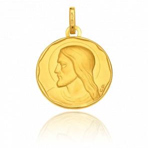 Médaille Ronde Christ, Or jaune 18K