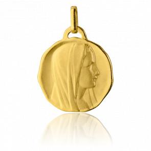 Médaille Ronde Vierge de profil, Or jaune 18K