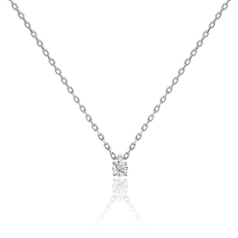 Collier diamant solitaire 4 griffes HP1 & or blanc 18K