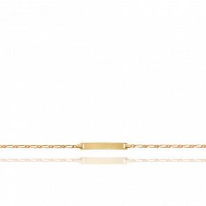 Gourmette figaro plaque rectangle, Or jaune 18K