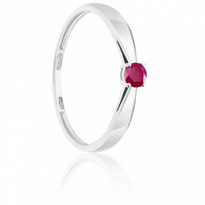 Bague Solitaire Rubis 0.15ct & Or Blanc 18K