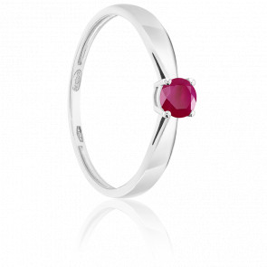 Bague Solitaire Rubis 0.25ct & Or Blanc 18K