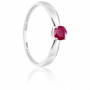 Bague Solitaire Rubis 0.30ct & Or Blanc 18K