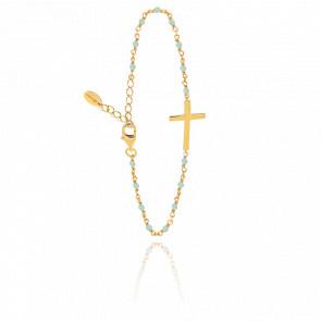 Bracelet argent doré croix et aventurine