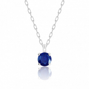 Collier Saphir Solitaire Or Blanc 18k