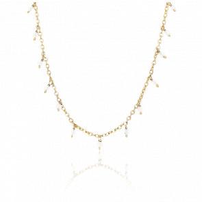 Collier argent doré petites gouttes perles pierre de lune