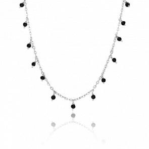Collier argent rhodié petites gouttes perles spinelle