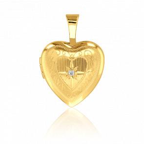 Pendentif photo, coeur serti diamant & or jaune 9k