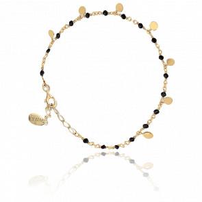Bracelet argent doré petites perles pampilles et spinelle noire