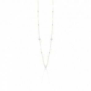Collier long sautoir argent doré valentine cristal blanc