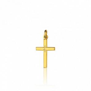 Croix étoile or jaune lapidée