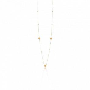 Collier long sautoir argent doré valentine cristal pêche