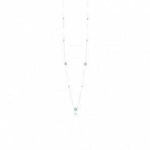 Collier long sautoir argent rhodié valentine cristal vert d'eau