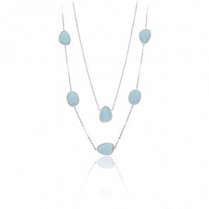 Collier long sautoir argent victoria cristal bleu eau
