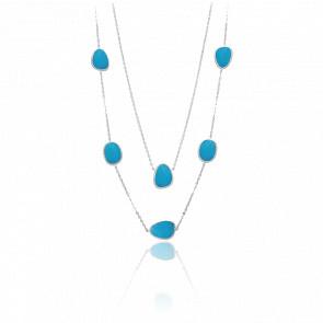 Collier long sautoir argent victoria cristal turquoise