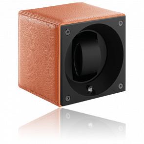 Ecrin Rotatif Masterbox Leather - Grained Orange Leather & Orange Stitches