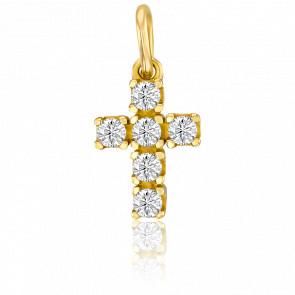 Pendentif petite croix or jaune 9k et oxydes de zirconium