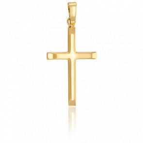 Pendentif croix or 18k bords aplatis bélière épaisse