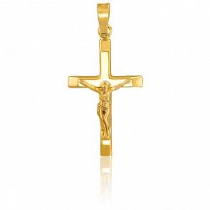 Pendentif croix crucifix or 18k et bords aplatis