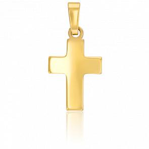 Pendentif croix bombée or 9k