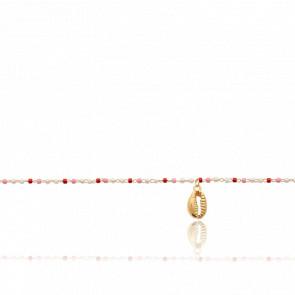 Chaîne de cheville perles en verre rosées et coquillage plaqué or 18k
