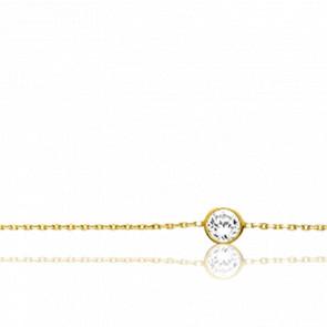 Chaîne de cheville plaqué or jaune 18k et oxyde de zirconium