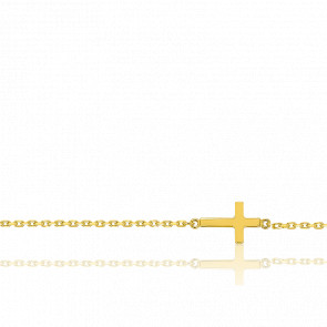 Chaîne de cheville plaqué or 18k et croix