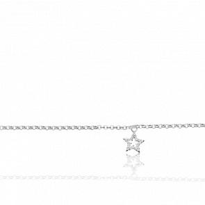 Chaîne de cheville argent rhodié et étoile oxyde de zirconium