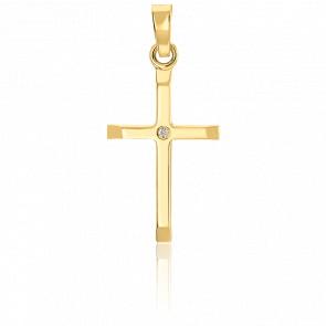 Pendentif croix bombée or 9k et diamant 0,005ct. W/P1