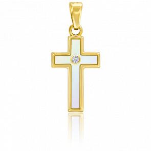 Pendentif croix or 9k nacre blanche et zircon
