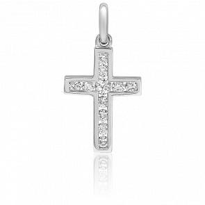 Croix or blanc 18K diamants 0,20 carat