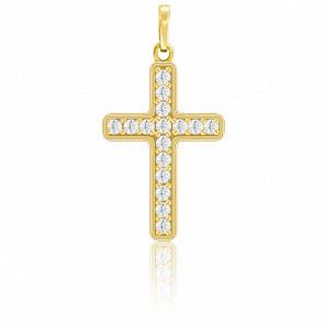Pendentif croix plaqué or 18 carats et oxydes de zirconium