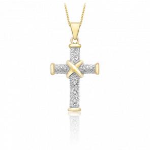 Pendentif croix or jaune 9k diamants 0.04 carat