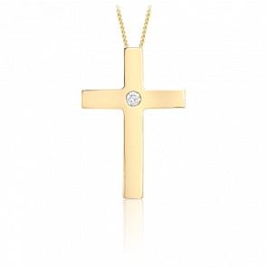 Pendentif croix or jaune 9k diamant solitaire 0.05 carat