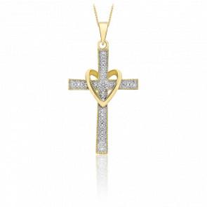 Pendentif croix et coeur or 9k et diamants 0.05 carat